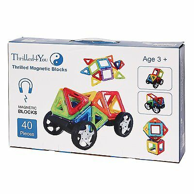 Thrilled4You Magnetic Building Set 40 Piece Toddler Magnet Shape Blocks FUN Toy