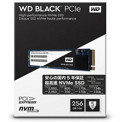 Disco duro Western Digital Black PCIe Gen3 SSD M.2 256GB
