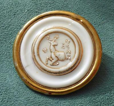 """BIMINI/ ORPLID-Style GLASS BROOCH - CLASSICAL """"STAG"""" 45mm - White Glass & Gold"""