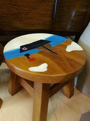 Cute Sail Boat Detail Solid Wooden Stool, childrens, kids, retro