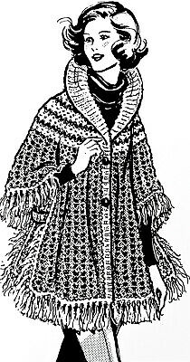 433 Vintage FRINGED CAPE Pattern to Crochet (Reproduction) SZ 10-16