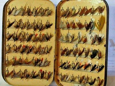 Antique Malloch's Japanned Fly Box with leaves, clips & 84 trout flies