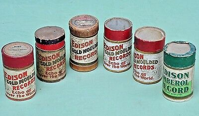 6 Empty Edison Cylinder Record Tubes, Green Amberrol ,Gold Moulded
