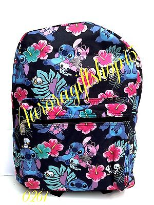 "Disney Lilo & Stitch Allover Print 16"" Girls Large School Backpack-Black-0261"
