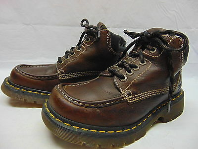 DR DOC MARTENS England Brown Leather Ankle Moc Toe Boots Women's Size 8