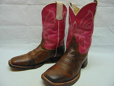Anderson Bean Girls size 3 Pink Leather Uppers Tan Cowboy Western Boots