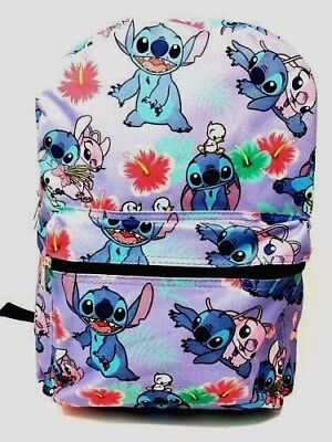 "Disney Lilo & Stitch  Allover Print 16"" Girls Large School Backpack-Purple-0254"