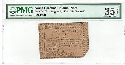 """North Carolina Colonial Note Aug 8, 1778 $5 """"Behold"""" PMG VF 35 NET Fr#NC-176a"""