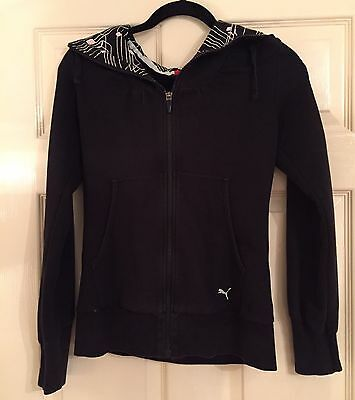 Woman's Black Hooded Sports Jacket / Hoodie By Puma, Size 10UK