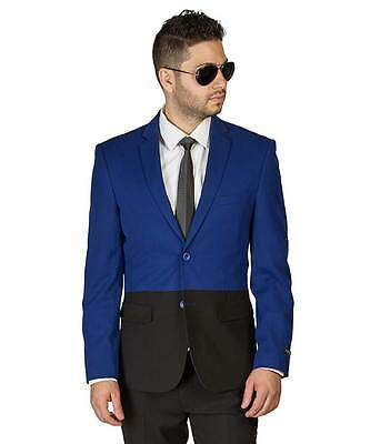 Indigo Blue/Black Two Tone Dinner Blazer Sport Jacket Notch Lapel Modern AZARMAN