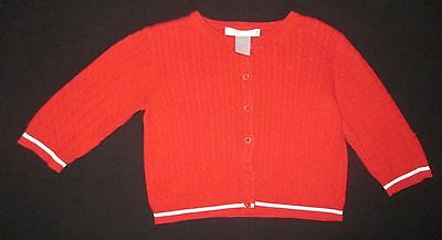Vintage JANIE and JACK Girl's Red Cableknit Cardigan Sweater Size 6 to 12 Months