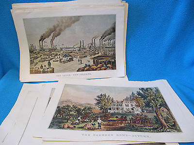 73 Currier & Ives Lithos Prints 1948 1949 Complete Calendars Travelers Insurance