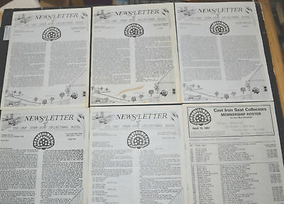 Lot of 5 1987 CAST IRON SEAT COLLECTORS NEWSLETTERS Curtis Cooper Wilmar Tiede