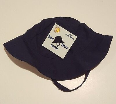 NWT Baby Boy Size 6-18 Months Wee Wave Navy Blue Sun Hat, Bucket Cap.