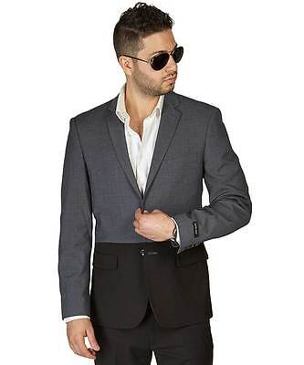 Grey/Black Two Tone Dinner Blazer Sport Jacket Notch Lapel Modern By AZAR MAN