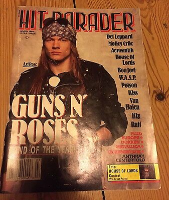 """Vintage """"Hit Parader"""" magazine - Guns N' Roses band of the year edition March 89"""