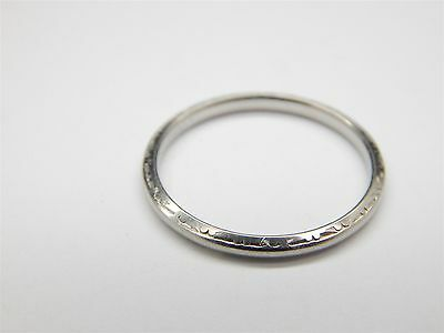 Beautiful Vintage 18k Solid White Gold Wedding Band Ring Size 7 1/4