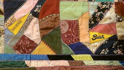 """Vintage 30's Crazy Antique Quilt Embroidered Stitches NICE & COLORFUL 80""""X90""""!!"""