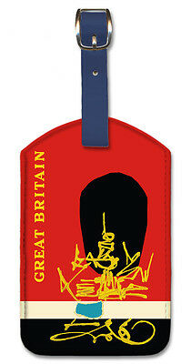 Leatherette Vintage Art Luggage Tag - Great Britain by Georges Mathieu