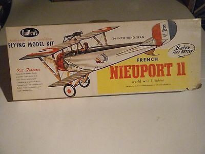 "CLASSIC GUILLOWS 24"" BALSA WOOD WW I French/American NIEUPORT II Bi-Pl Model Kit"