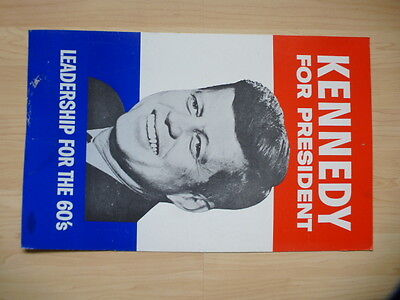 Original 1960 Kennedy For President Leadership For The 60's Cardboard  Poster