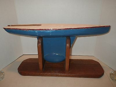 Vintage Blue White Pond Boat Wood Weight Metal Keel Large Sailboat Yacht