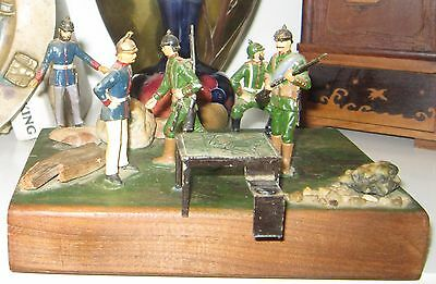Vintage military miniature with Britain led toy soldiers