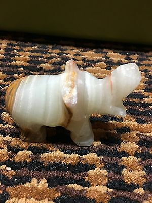 Vintage Decorative Stone or Rock Carved Elephant (Trunk Up)