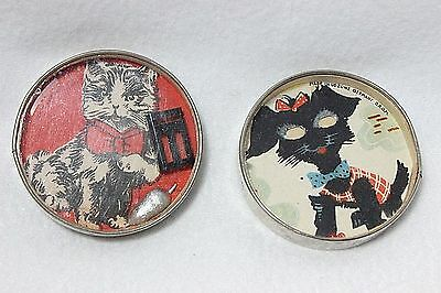 Two Vintage Puzzle Game Metal Ball Ring Toss Skill Toy Germany Cat Mouse Dog
