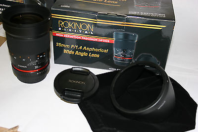 NEW Rokinon 35mm  F1.4  MULTI COATED FAST WIDE ANGLE LENS SLR DSLR with CASE
