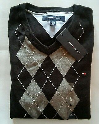 NWT Tommy Hilfiger Black Argyle V Neck Sweater New With Tags Large