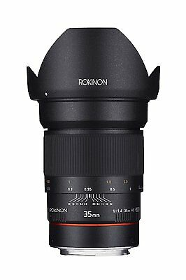 New Rokinon 35mm F1.4 UMC Wide Angle Lens Nikon AE with Automatic Chip RK35MAF-N