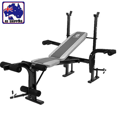 Weight Bench Barbell Stand Fitness Equipment Strength Training Indoor OYSW59225