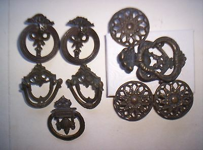 Antique Mixed Lot Of 9 Eastlake Type Single Post Pulls