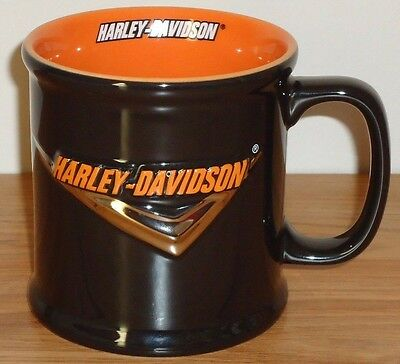 "HARLEY DAVIDSON V Black Orange 3D ceramic coffee MUG 4""H 2002"
