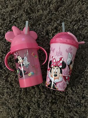 DISNEY Minnie Mouse Straw Cups Lot Of 2 NEW