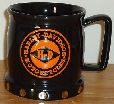 "HARLEY DAVIDSON MOTORCYCLES Black Orange 3D ceramic coffee MUG 4""H"