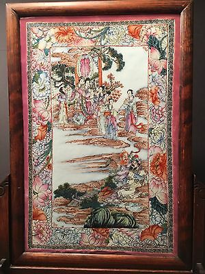 Antique Chinese large Famille Rose Framed Plaque, Republic Period