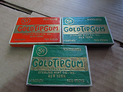 Lot Of 3 Gold Tip Gum Box Peppermint by Sterling Mint Co Company NY New York