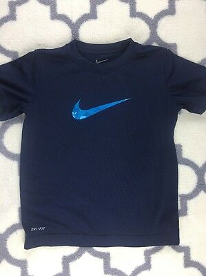 NIKE Youth Boys Girls Kids DRI-FIT Athletic Blue Size 7 Shirt