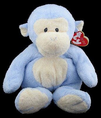 Ty Pluffies Blue DANGLES MONKEY Stuffed Animal Sewn Eyes 2007 with Tag