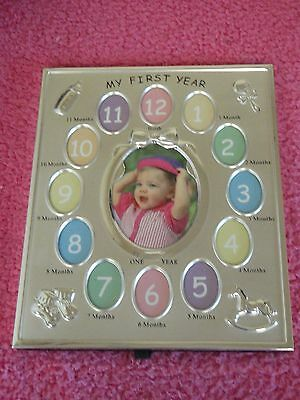 Silver baby photo frame my first year