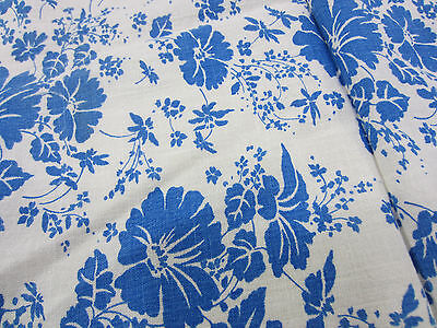 Vintage Uncut Whole Feed Sack- Large Blue Flower Print for Quilting  FS#8