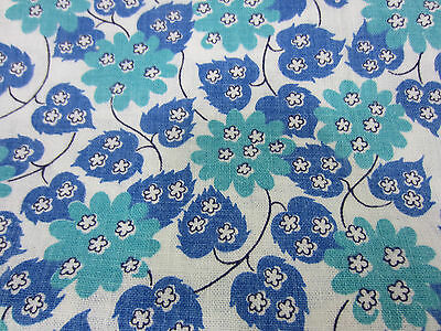 Vintage Uncut Whole Feed Sack- Blue & Green Floral Print for Quilting  FS#7