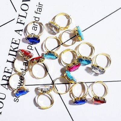 50 pcs Adjustable Wholesale Mix Crystal Children Kids Gold Rings Tail Ring Rings