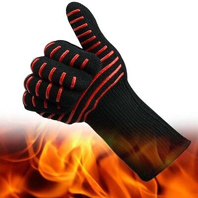 Heat Resistant Silicone Kevlar Mitts Gloves BBQ Grill Microwave Oven 932F Gloves