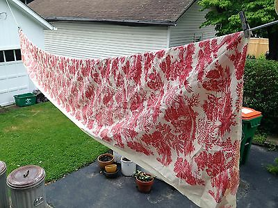 ANTIQUE 19c FRENCH TOILE DE JOUY RED & WHITE FABRIC - Big  16 ft. 30 inches long