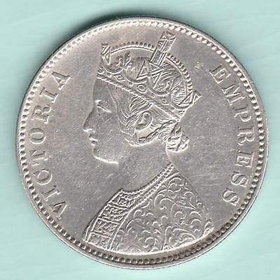 British India - 1880 - Victoria Empress - 0/1 Dot - One Rupee - Rare Coin