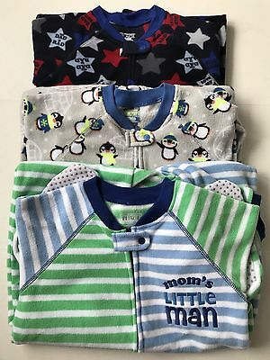 Lot Of 3 The Children's Place Footed Fleece Pajamas Size 5T Boys NWOT