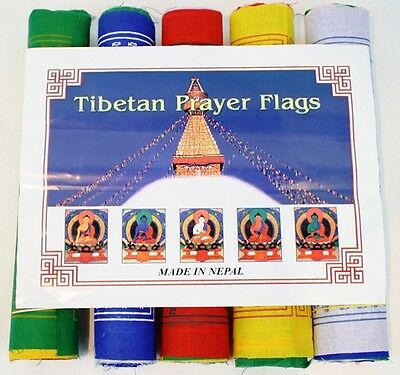 100% Cotton Tibetan Prayer Flags - 5 Mantras/5 Rolls/5 Colours/50 Flags - Medium